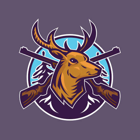 Deer head with rifles. Concept art of hunting in cartoon style. Vector Illustration
