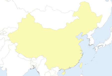 Map of china with country borders and neighbor countries