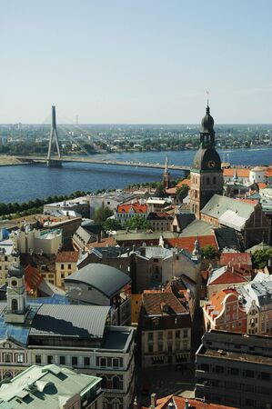 View of Riga from above - capital of Latvia. Old town with river in background. photo