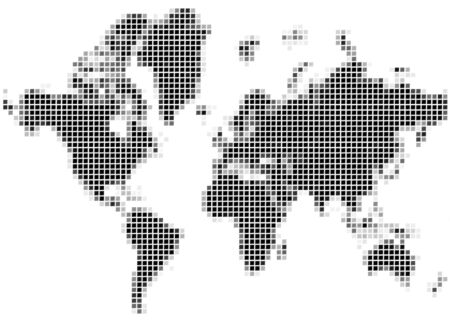 Black and white mozaic map of the world. Stock Photo - 868718