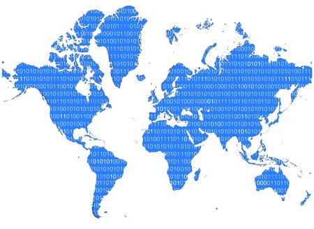 0 geography: Detailed map of the world with binary numbers.