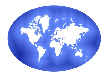 elliptic: Detailed abstract white map of the world on blue  elliptic gradient background.