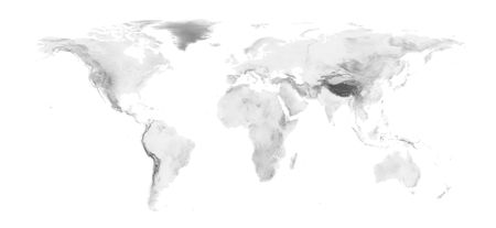 World map with grayscale elevation on white background. Easy to change background and elevation color.