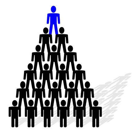 pyramid composed from people - team and leader on top of pyramid. photo