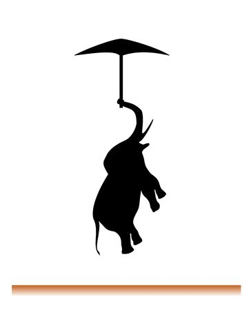 motto: silhouette of flying elephant on umbrella. Motto: If elephant can fly you can do everything. Stock Photo