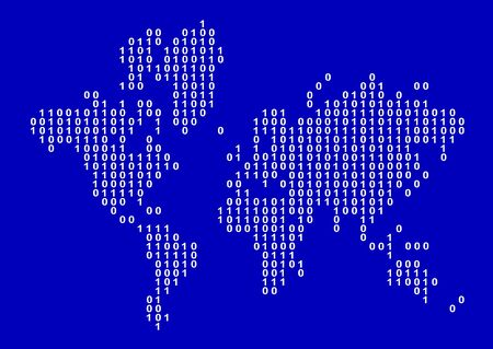 World map illustration composed of binary numbers illustration