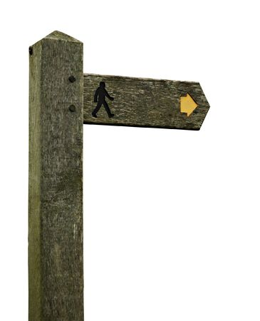 isolated old wooden roadsign with arrow and man silhouette.