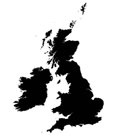 britain: Detailed black and white map of United Kingdom.