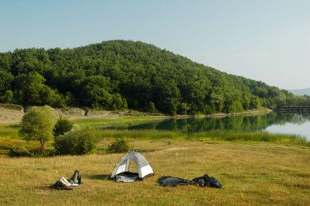 crimea: Camping by lakeside. Photo taken in Crimea, Ukraine.