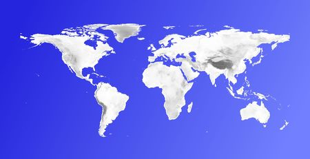 elevation: Detailed world map with grayscale elevation on blue gradient background.