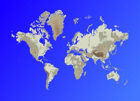 relief map of world on blue gradient background.mercator projection