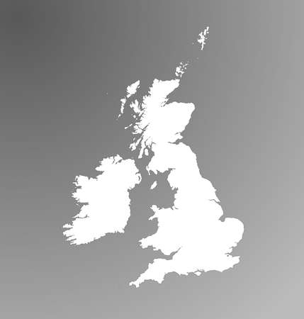 grayscale: Detailed map of United Kingdom on grayscale gradient background.
