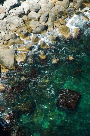 topdown: Black sea coast with box under water. Crimea, Ukraine
