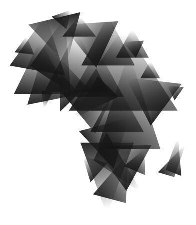 africa outline: Abstract africa map created from grayscale triangles.