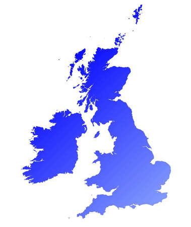 Detailed blue gradient map of United Kingdom. photo