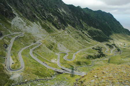 fagaras: serpentine route in Fagaras mountains, Romania