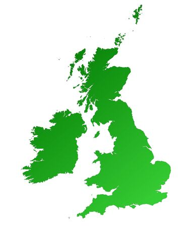 Detailed green gradient map of United Kingdom. photo