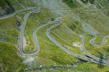 serpentine route in Fagaras mountains, Romania photo