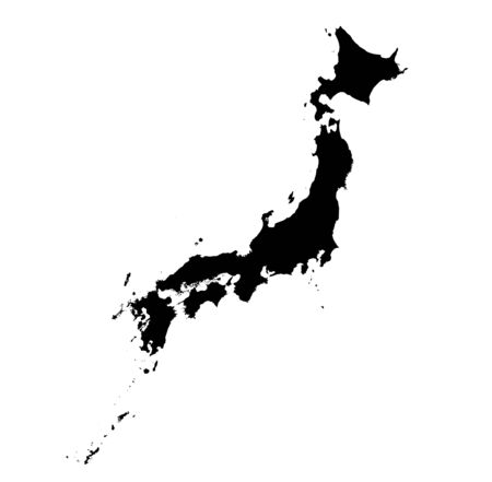 outline of: Detailed isolated black and white map of Japan
