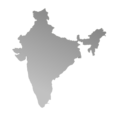 detailed gray gradient map of India on white background photo