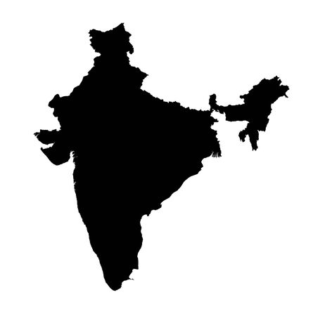 detailed isolated bw map of India photo