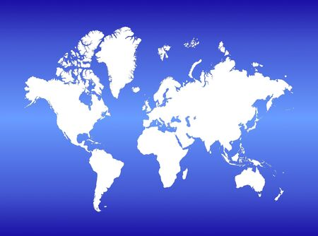 Detailed white map of the world on blue gradient background.