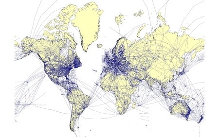aeronautical: detailed world map with air routes Stock Photo