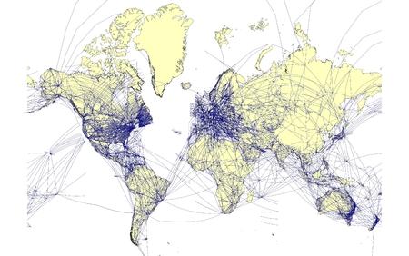 Detallado mapa del mundo con las rutas a�reas  Foto de archivo - 1585663