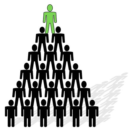 hierarchy: pyramid composed from people - team and leader on top of pyramid.