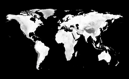 World map with grayscale elevation on black background.
