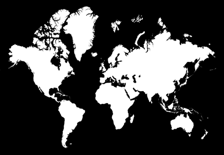 Detailed isolated white world map on black background.