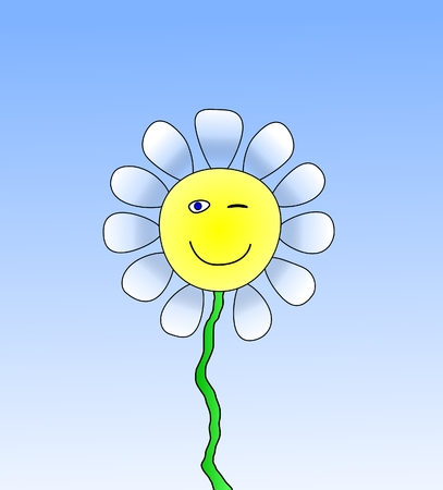 in ox: smiling blinking ox eye daisy Stock Photo