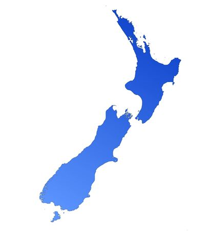 Isolated blue gradient map of New Zealand