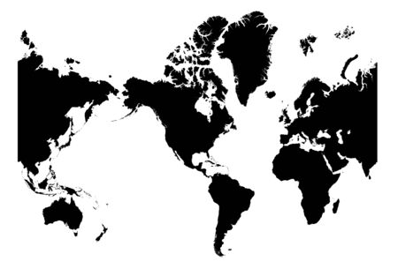 Detailed bw map of the world centered on America
