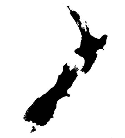 Isolated black and white map of New Zealand