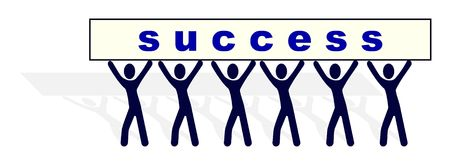 bring: illustration of team carrying success