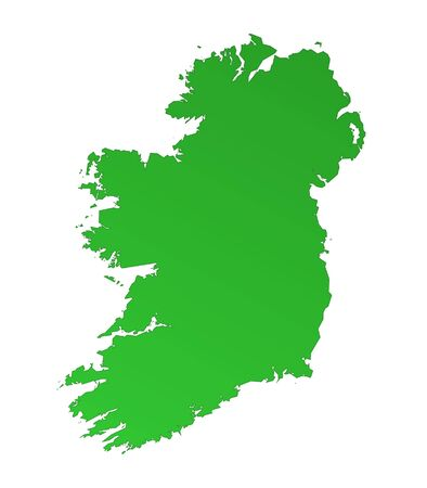 Isolated green gradient map of Ireland Stock Photo