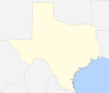 neighbor: Map of Texas with country borders, ocean and neighbor countries