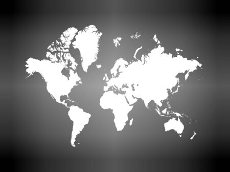 Detailed white world map on gray gradient background.