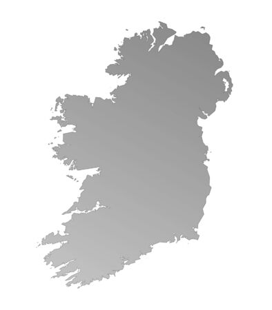 Isolated gray gradient map of Ireland Stock Photo - 1884435
