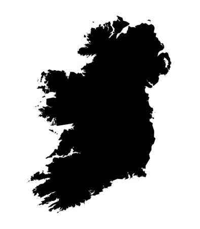 northern ireland: Isolated black and white map of Ireland Stock Photo