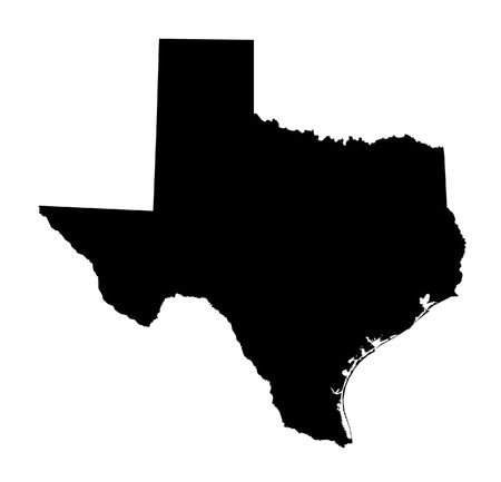 isolated black and white map of Texas Stock Photo