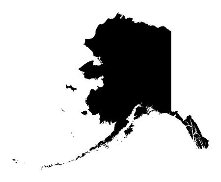 Detailed isolated bw map of Alaska, USA. Mercator projection.