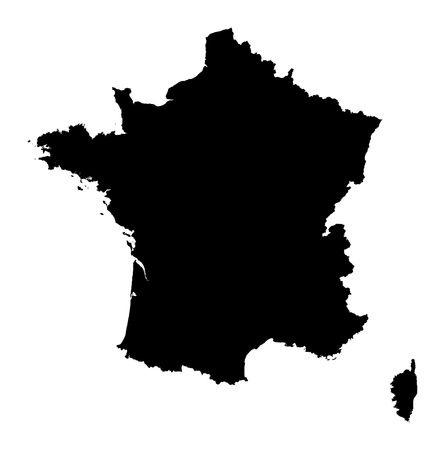 Detailed isolated map of France, black and white. Mercator Projection.