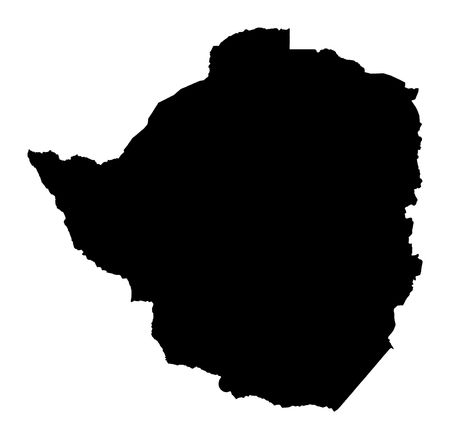 fill: Detailed isolated map of Zimbabwe, black and white. Mercator Projection.