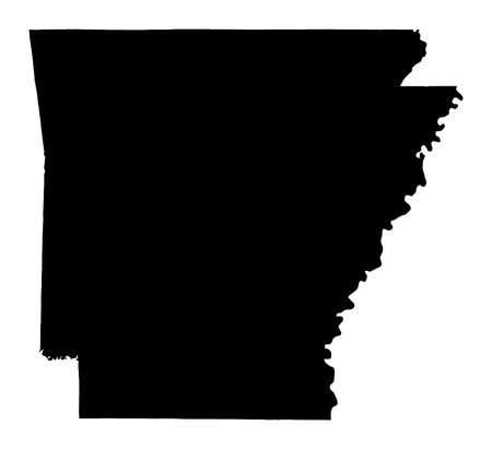 arkansas state map: Detailed isolated bw map of Arkansas, USA. Mercator projection. Stock Photo