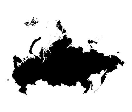Detailed isolated map of Russia, black and white. Mercator Projection.