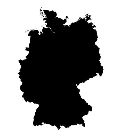 Detailed isolated map of Germany, black and white. Mercator Projection.