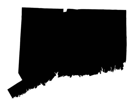 connecticut: Detailed isolated bw map of Connecticut, USA. Mercator projection.