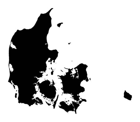 denmark: Detailed isolated map of Denmark, black and white. Mercator Projection. Stock Photo